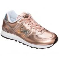 New Balance Womens Metallic Rose Gold Sneakers