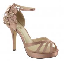 Menbur Habana Rose Satin Flower High Heel Platform Sandals 07551