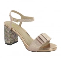 Menbur Arena Rose Sparkle Glitter Bow Block Heeled Sandals