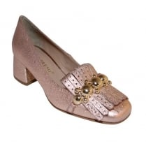 Bruno Premi Rose Gold Fringe Front Heeled Loafer
