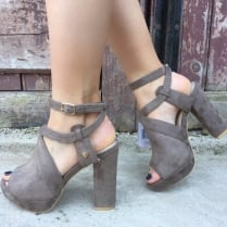 Fabs Ladies Taupe Suedette Platform Sandals