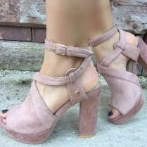 Fabs Old Pink Suedette Platform Sandals