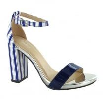 Menbur Bosellino Blue Peep Toe Ankle Strap Sandals