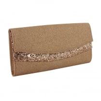 Menbur Adern Rose Gold Glitter Clutch Bag