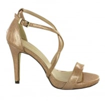 Menbur Gold Shimmer Patent Strappy Sandal