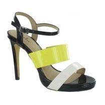Menbur Atolia Black/Yellow/White Strappy High Heeled Sandal