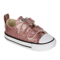 Converse Kids Chuck Taylor All Star 2V Rose Gold Glitter Velcro Shoes