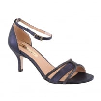 Barino Ladies Navy Mid Heel Ankle Strap Diamante Shoe
