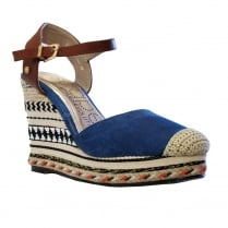 Escape Ladies Midina Blue Denim Summer High Wedge Espadrille
