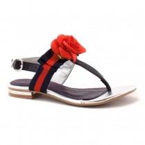 Escape Ladies Elva Blue Ocean Red Rose Flat Sandals