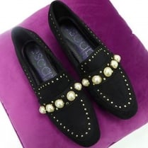 Escape Ladies Vardo Black Pearl Loafer Shoe