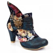 Irregular Choice Miaow Ankle Boots - Blue Metallic