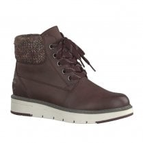 Marco Tozzi Womens Flat Casual Lace Up Ankle Boots - Burgundy