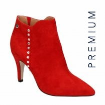 Caprice Red Suede Leather Heeled Ankle Boots