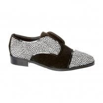 Nicola Sexton Black and White Slip On Oxford Style Shoes