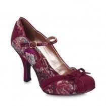 Ruby Shoo Cleo Suede Mary Jane High Heels - Burgundy