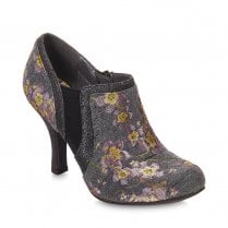 Ruby Shoo Juno High Heeled Floral Low Ankle Booties - Grey
