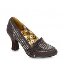 Ruby Shoo Flora Heeled Court Loafer Shoe - Grey