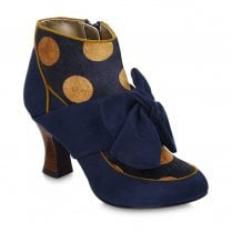 Ruby Shoo Seren Heeled Bouffant Bow Trim Ankle Boots - Navy/Gold