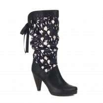 Ruby Shoo Athena High Heeled Floral Long Calf Boots - Black