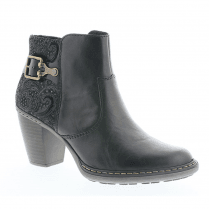 Rieker Ladies Zip Mid Block Heel Ankle Boots - Black