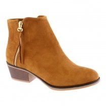Susst Womens Zip Trim Ankle Boots - Camel Micro