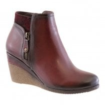Susst Womens Wedge Ankle Boots - Bordo