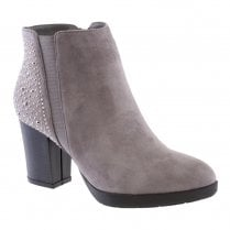 Susst Womens Block Heel Diamonte Ankle Boots - Grey