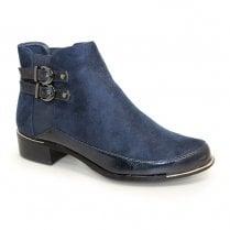 Lunar Pippa Velvet Ankle Boots - Navy