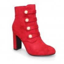 Lunar Campari Military Style High Heeled Ankle Boots - Red