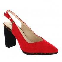 Menbur Ioggi Sling Back High Heeled Court Shoes - Red & Leopard