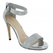 Menbur Schine Ankle Strapp Stiletto Sandals - Silver Grey