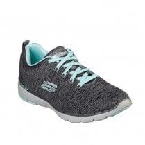 Skechers Womens Flex Appeal 3.0 Knit Fabric Sneakers - Charcoal Grey