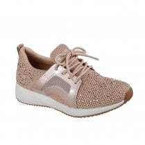 Skechers Womens Bobs Sport Squad Mesh Sneakers - Rose Gold