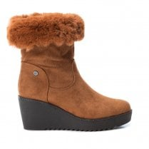 XTI Womens Wedge Heeled Ankle Boots - Camel Tan
