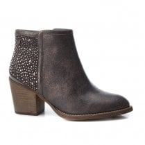 XTI Womens Western Style Diamante Low Heel Ankle Boots - Taupe