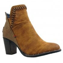 Escape Womens Maia Distressed Heeled Ankle Boots - Fudge Tan