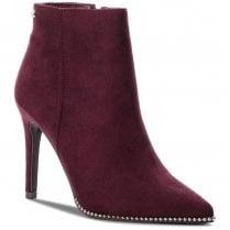 XTI Womens Suede Decorative Edges Stiletto Ankle Boots - Burgundy