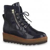 Tamaris Badam Pacific Patent Flatform Lace Up Ankle Boots