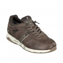 Mustang Mens Faux Leather Lace Up  Sneakers - Brown
