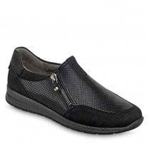 Ara Ladies Black Leather Low Wedge Shoes
