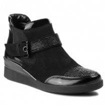 Ara Ladies Black Leather Low Wedge Boots