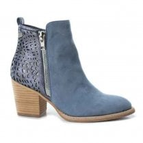 Xti Womens Block Heeled Side Zipper Ankle Boots - Blue