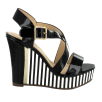 Menbur Paris Black/White Wedge Platform Sandals
