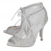 Lotus Vanille Silver Diamante Caged Heels