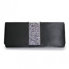 Lunar - Rachel Black Diamante Satin Clutch Bag ZLR243