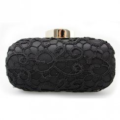Coral Woman's Black Lace Clutch Bag