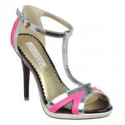 Womens Neon Pink and Silver T-Bar Peep Toe Sandal