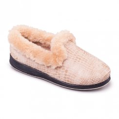 Padders Womens Luxury Slippers Beige