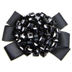 Van Dal Starburst Grosgrain Beaded Shoe Clips - Black